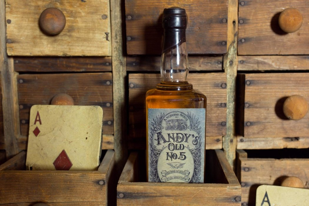A bottle of Andy's old no.5 whiskey