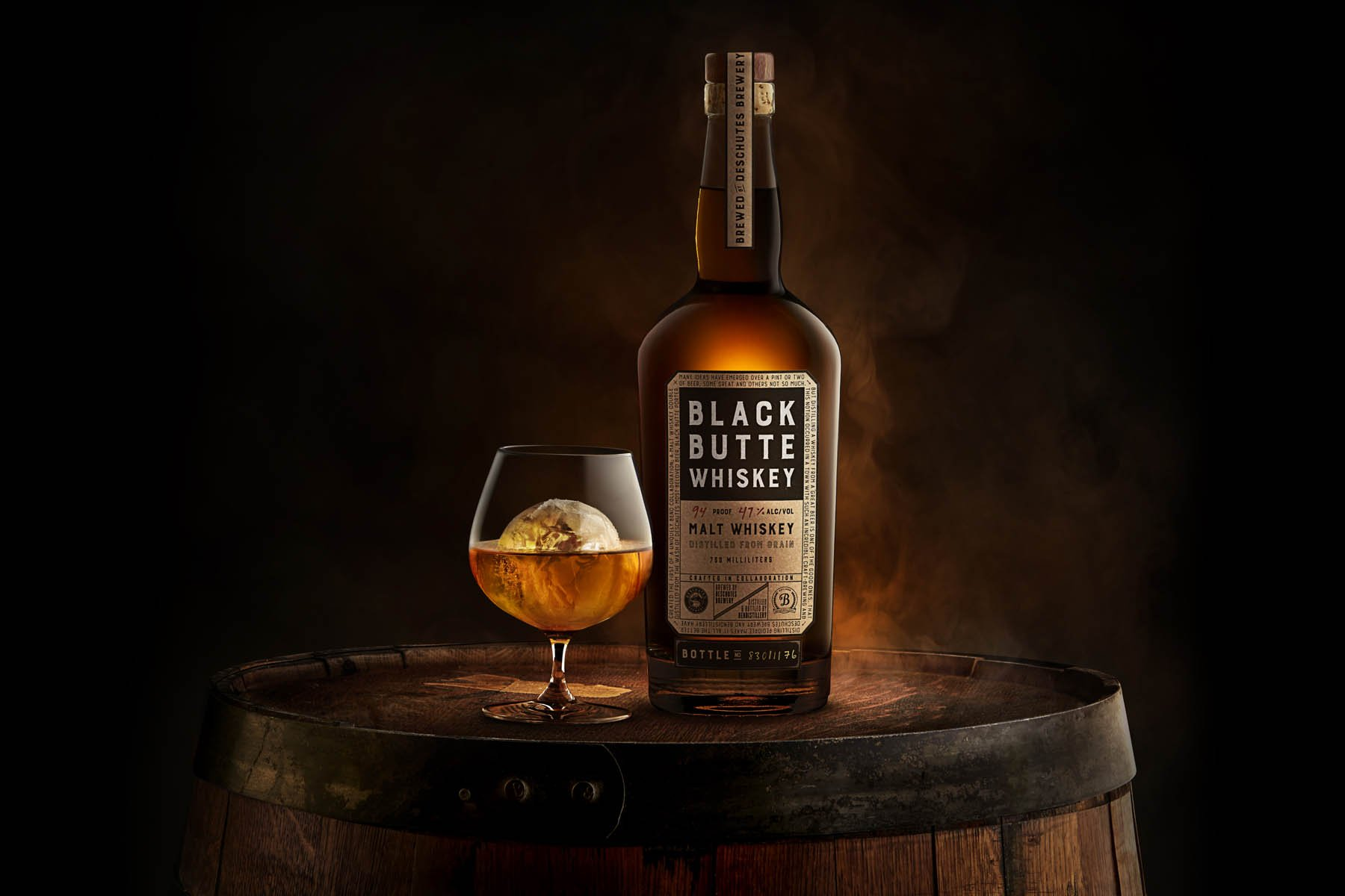 Black Butte Whiskey with a glass