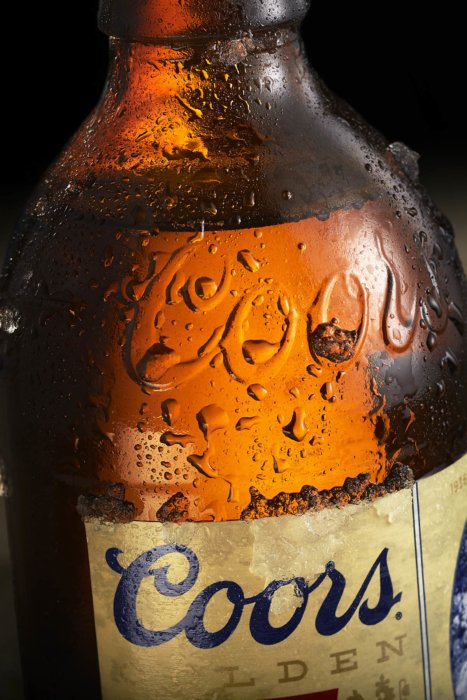 Close up of coors bottle - drink photography
