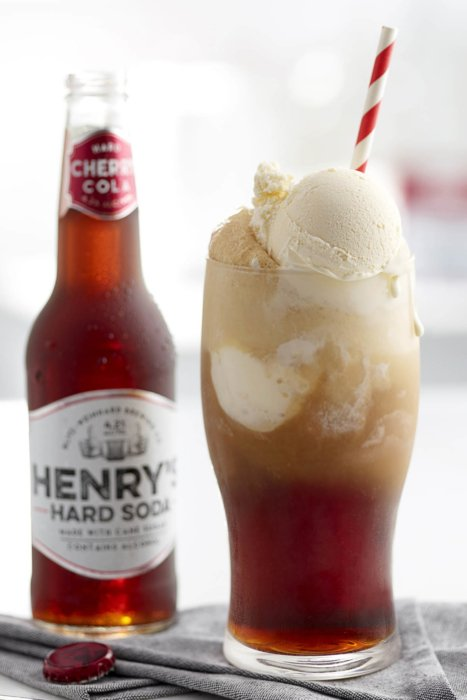 Henry's hard soda bottle and glass with ice cream