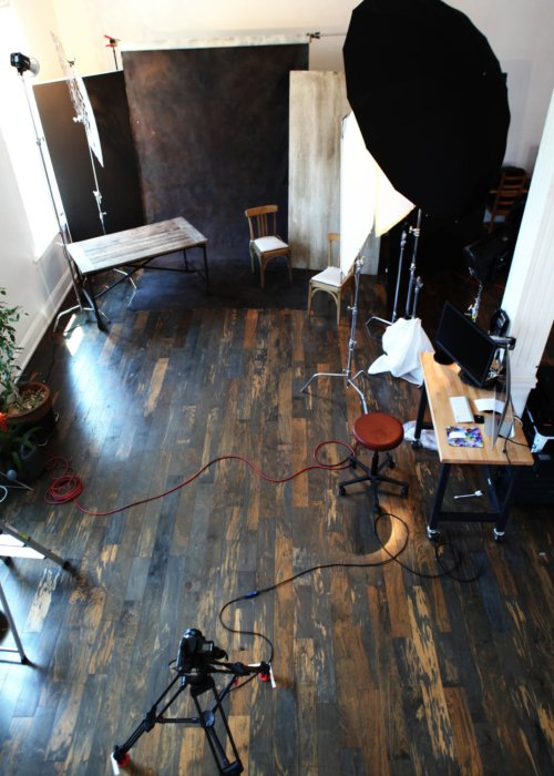 Shot set up for a portrait of a group