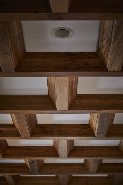 Interior architecture of an apartment detail of wood ceiling work