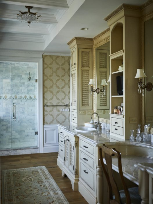 Interior architecture of an apartment bathroom with built in vanity