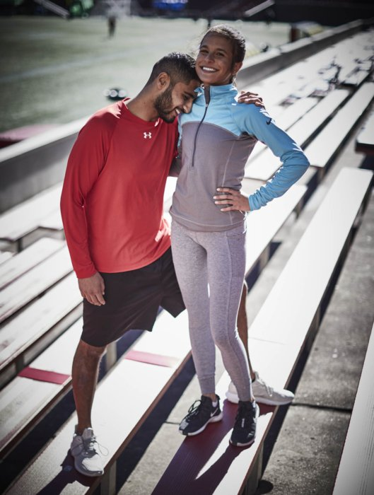 Young athletic couple taking a break from running - Athlete photography