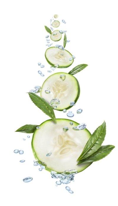 Floating splashing cucumbers with water
