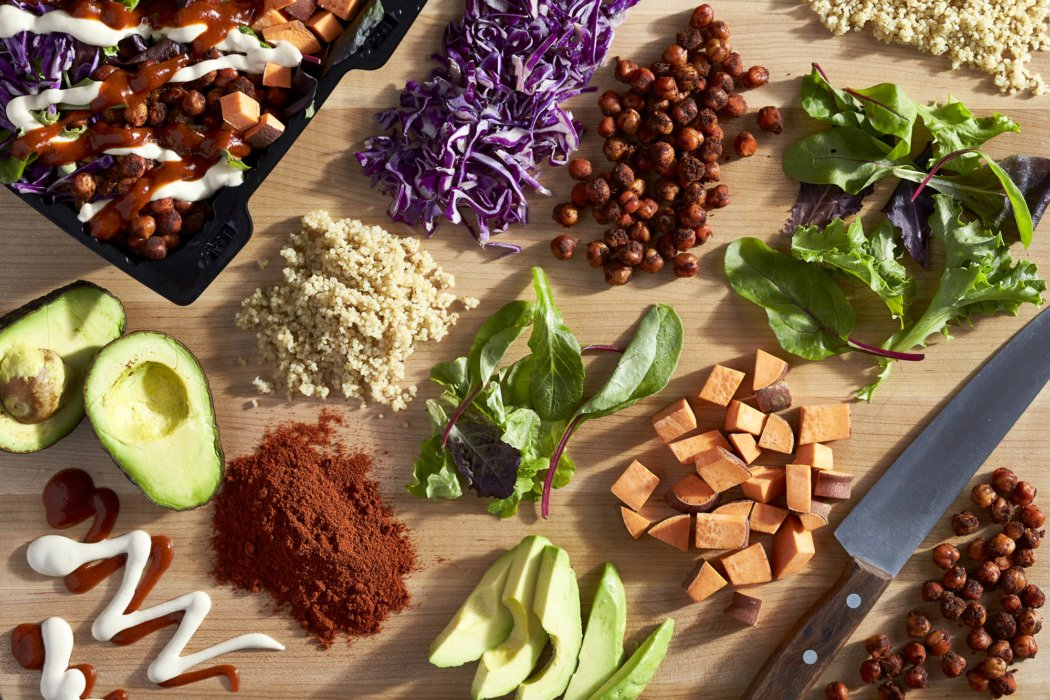 A beautiful top down spread of ingredients for a food truck bowl.