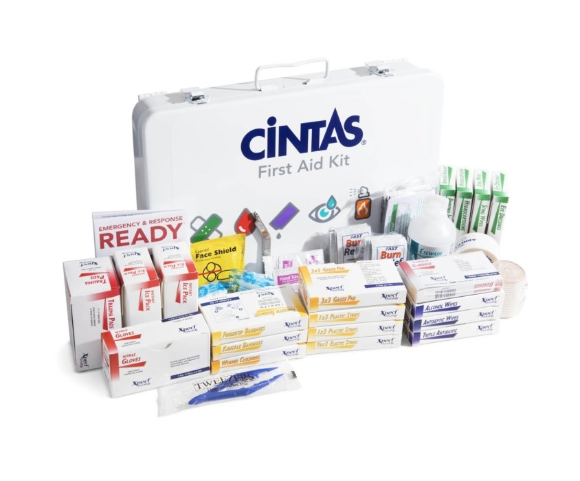 A first aid kit from Cintas showing all contained medical products and more | Healthcare Photographer