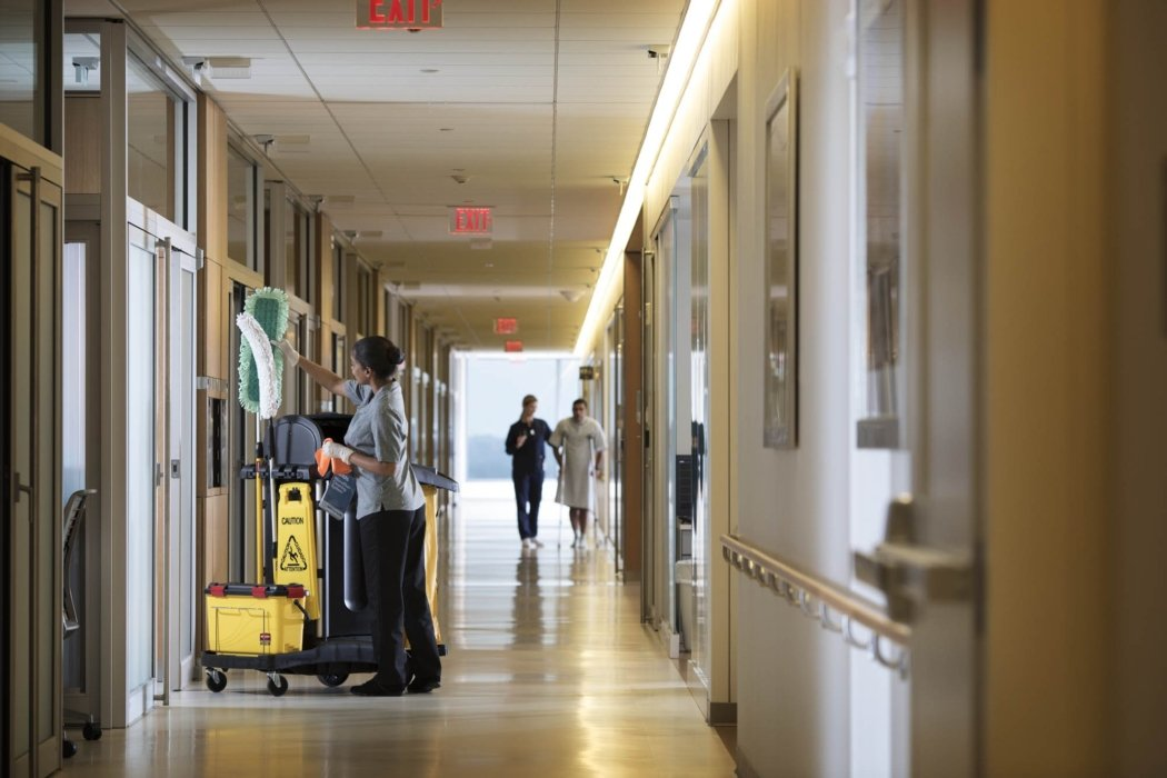 A hospital hallway being cleaned | Healthcare Photographer