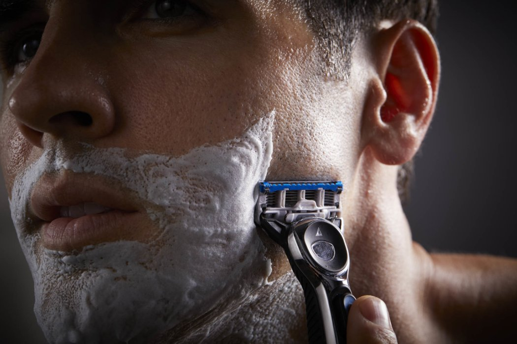 Man shaving close up beauty shot