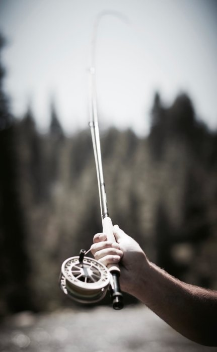 A fly fishing rod being cast
