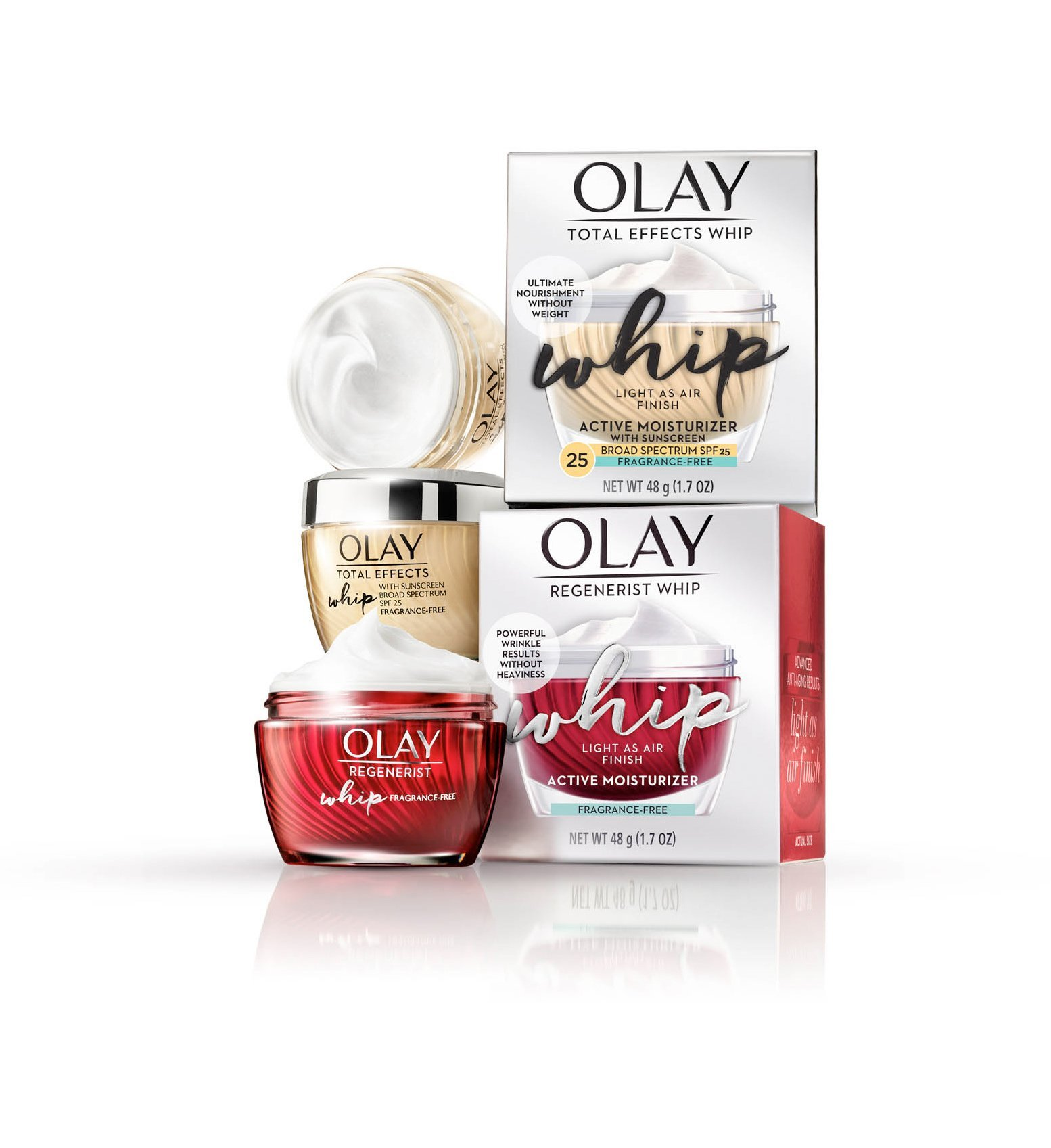 A set of Olay whips with beautiful designs - Cosmetics photography
