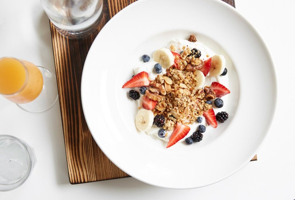 A bowl of granola and yogurt