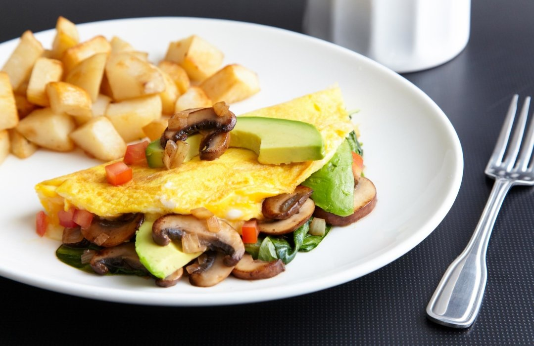 Omelet and breakfast potatoes