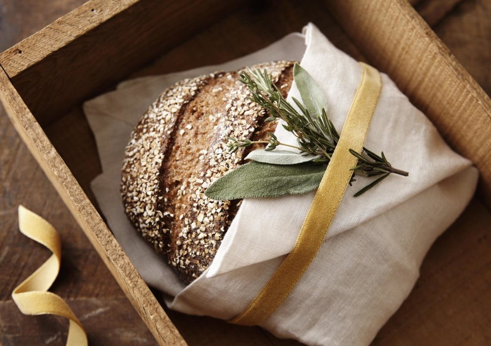 Hand crafter bread in a cloth in a box