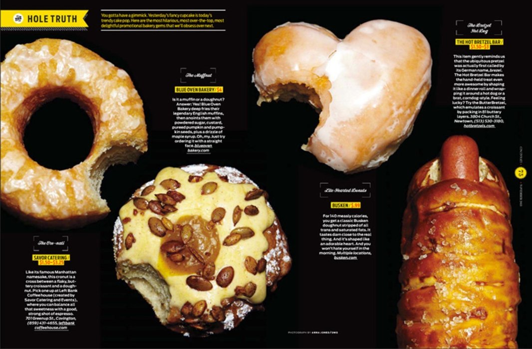 A mix of donuts and baked good in print layout