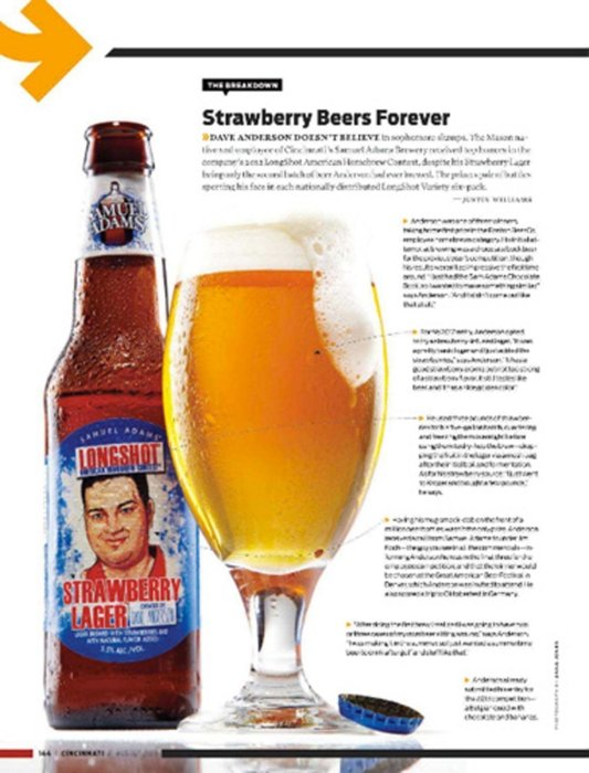 Long shot strawberry beer in magazine layout