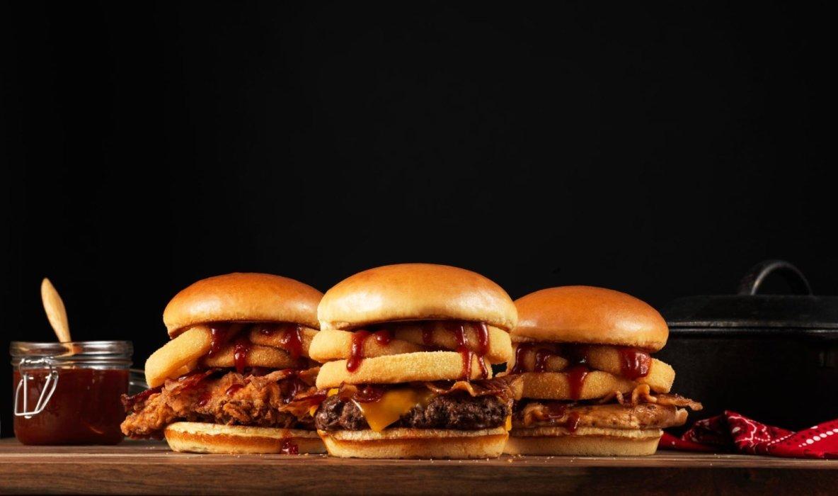 Onion ring bbq cheeseburgers
