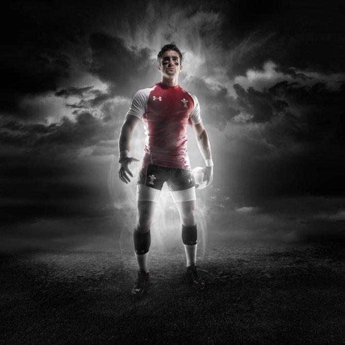 Dark athlete soccer portrait