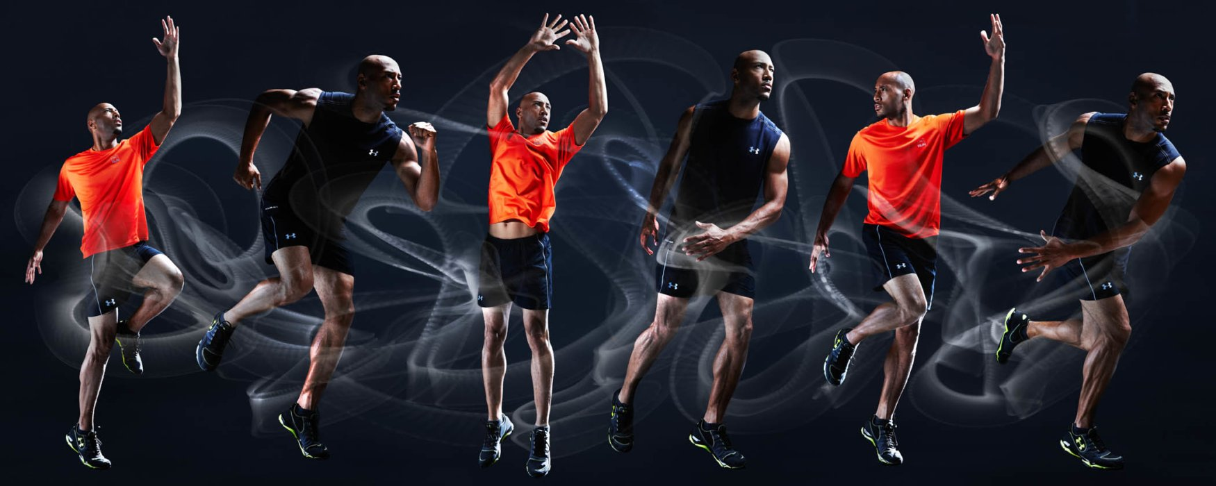 Multiple athlete shots composed with mist