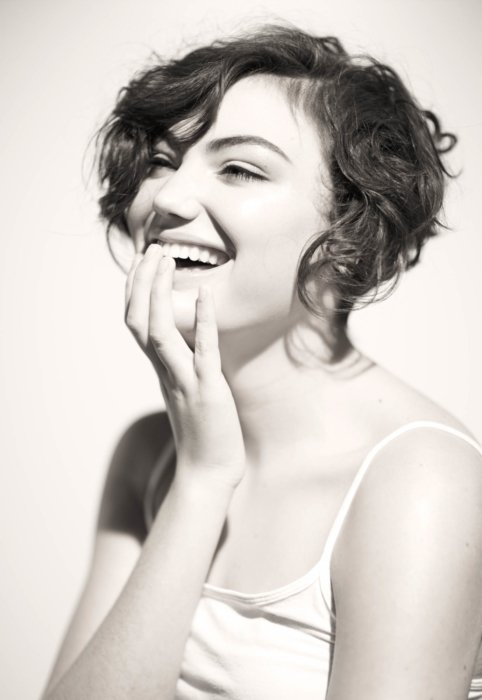 Beauty shot of a giggling woman