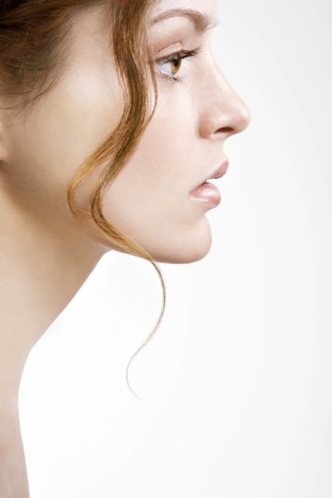 Sideview beauty shot of a woman's clean face