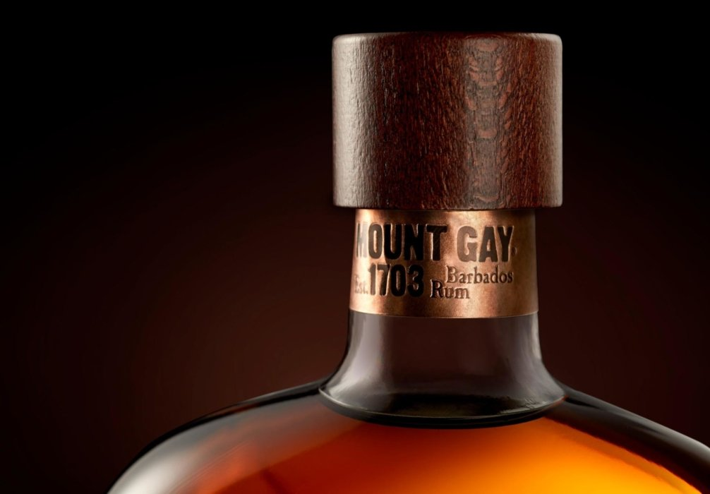 Mount Gay Rum bottles close up on neck