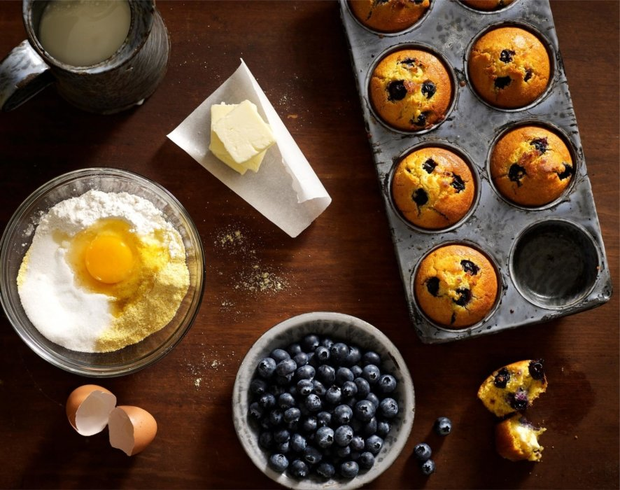 Blueberry muffins and ingredients