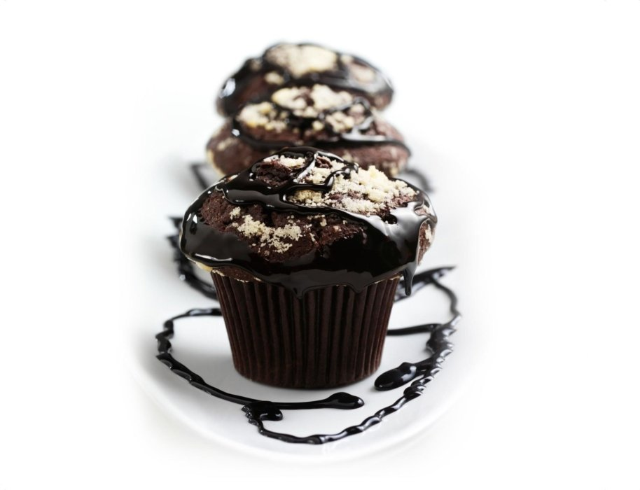 Chocolate cupcakes with a chocolate drizzle
