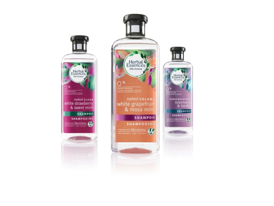 Herbal essence colorful cometics bottle on white background