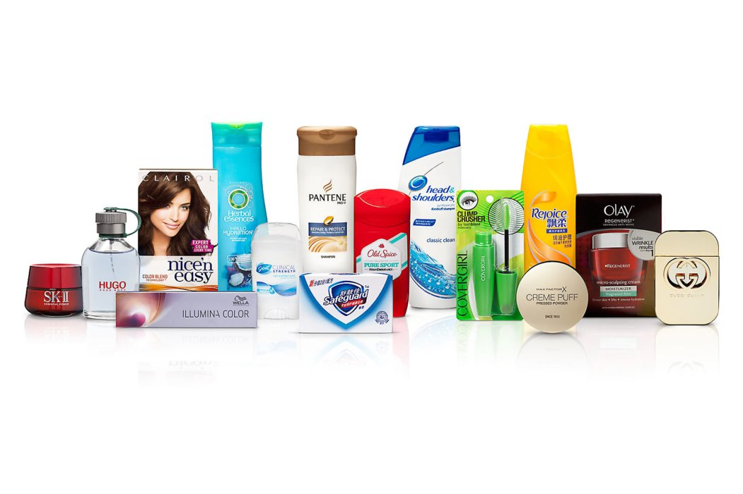 A row of P&G bathing products on a white background for ecommerce