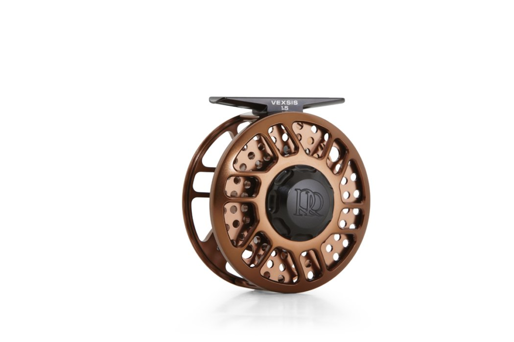 Copper fly fishing reel on white background for ecommerce