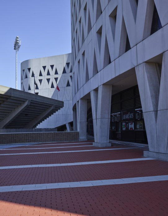 Architectural features and walkway at a university