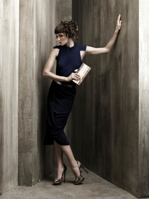 Female fashion model wearing navy blue