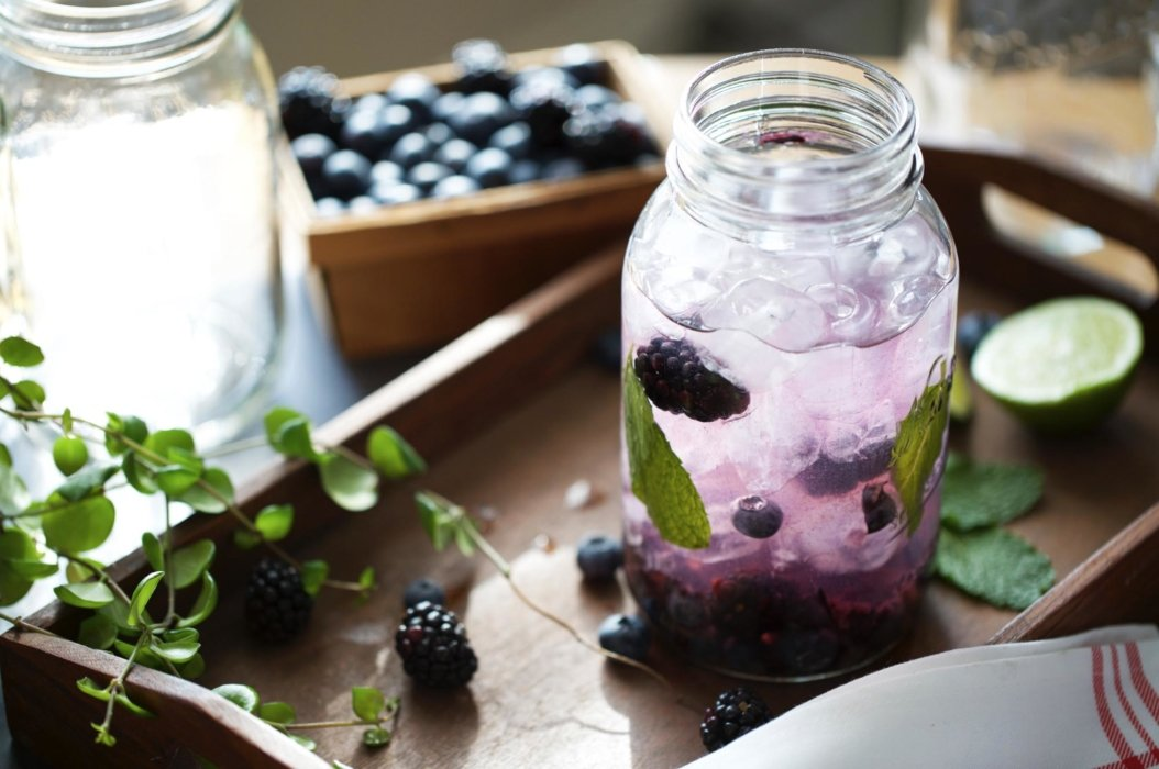 Blueberry summer drink with ice