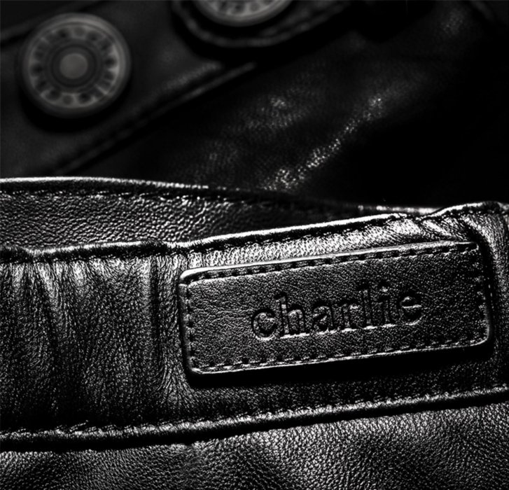 Leather shorts close up on label