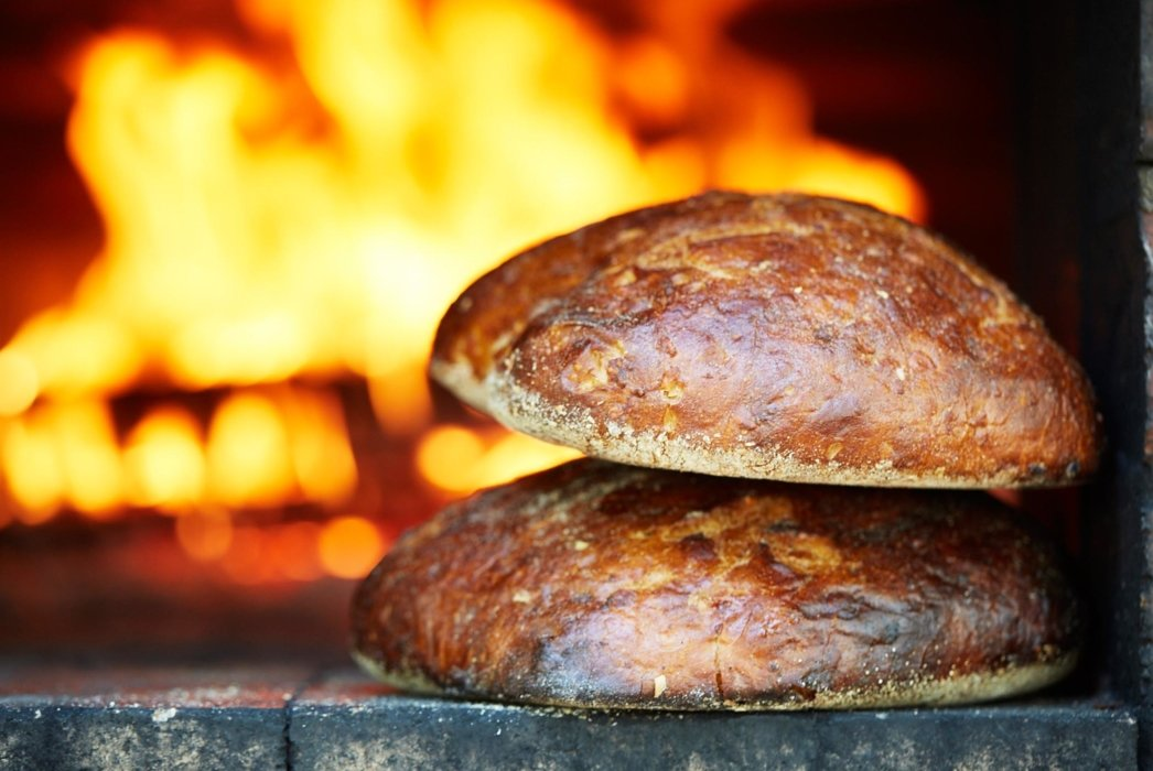Fire baked bread loaves