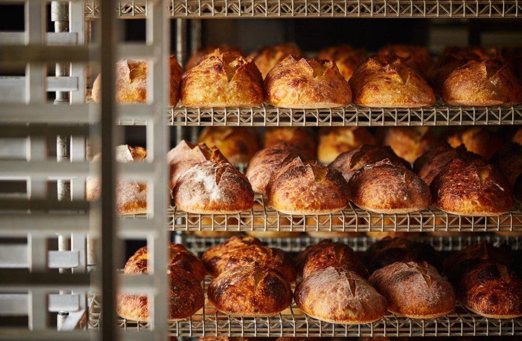 Racks of fresh baked breads