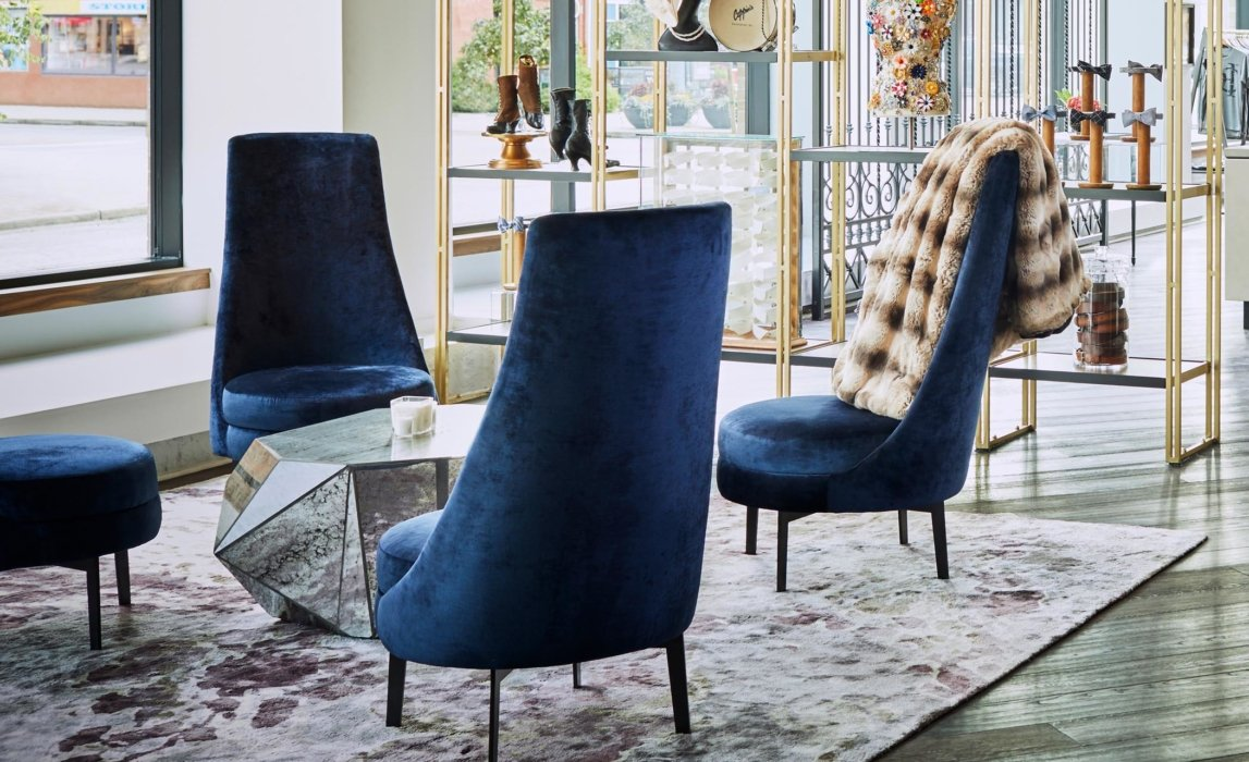 Interior lounge with blue chairs
