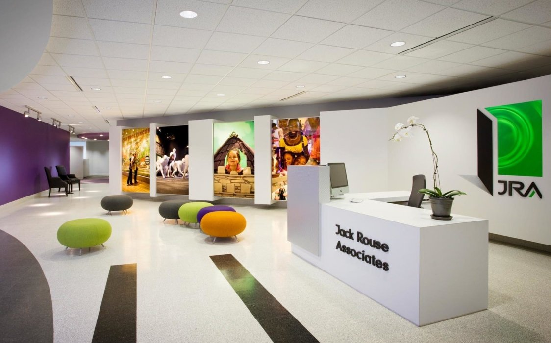 Interior of a modern office welcome area