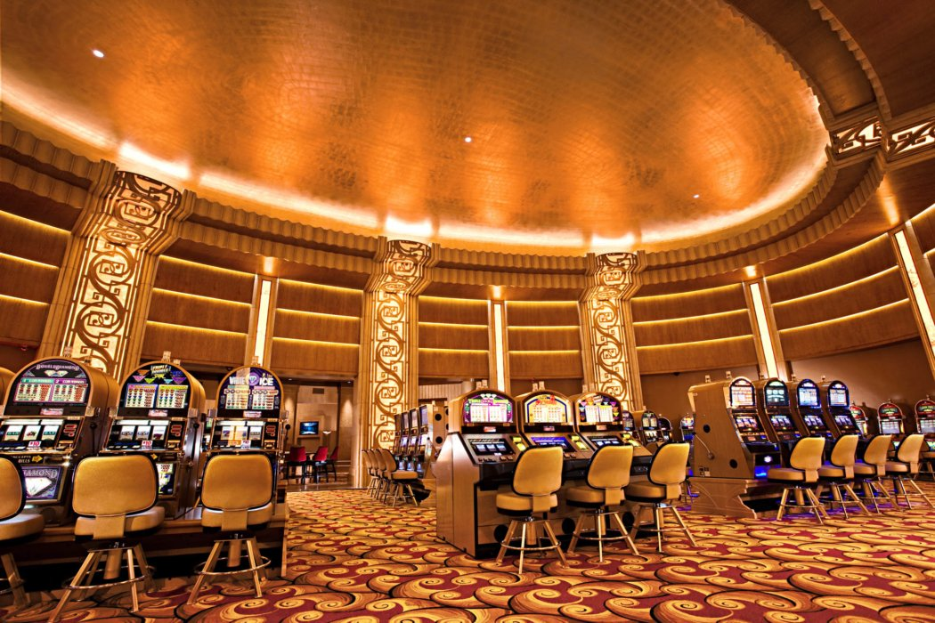 Interior architecture inside modern casino slot machines atrium