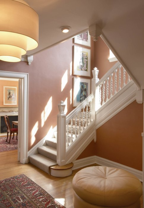Interior architecture inside a suburban home staircase