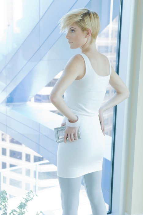 Fashion photography of a woman in a white dress modern