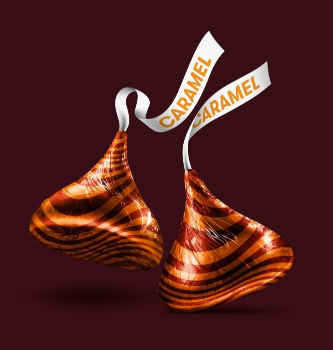 Two caramel Hershey kisses