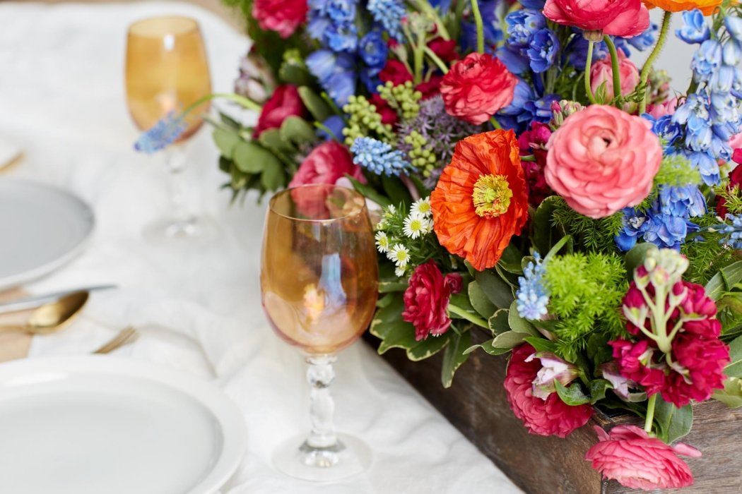 A table top box of flowers as a centerpiece