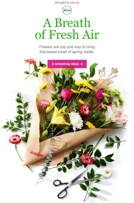 Flowers used in an email campaign