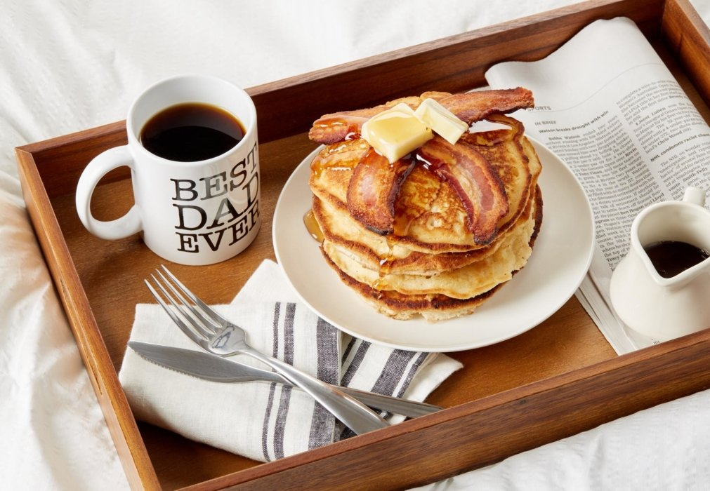Fathers day pancakes and bacon