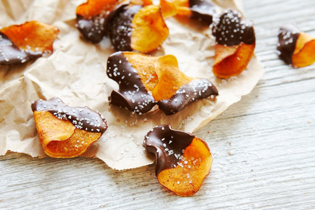 Salted sweet potatoes dipped in chocolate