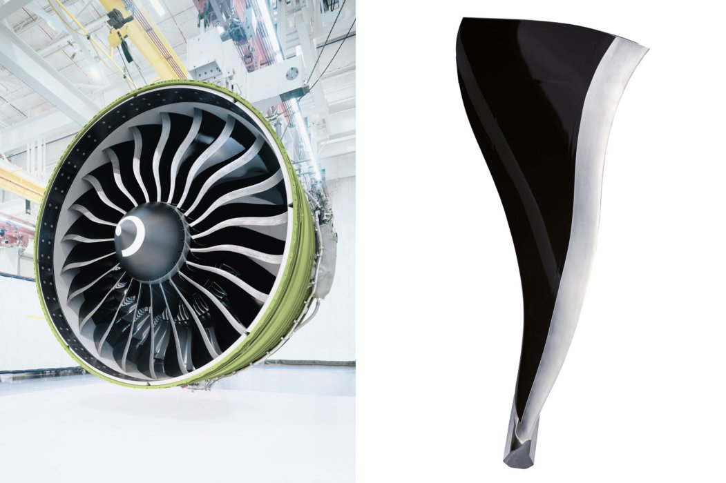 GE Aviation turbine blade shot