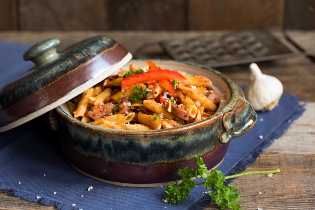 Sausage and pepper pasta in a baking dish