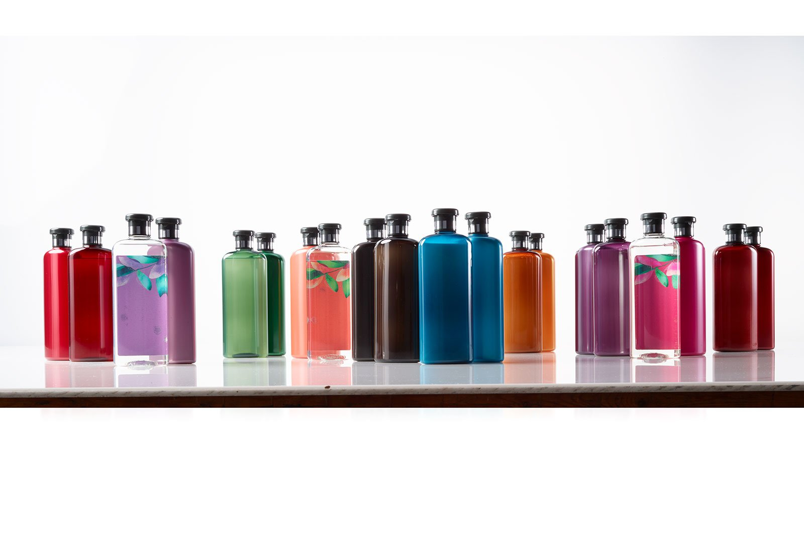 Shampoo bottles before retouching